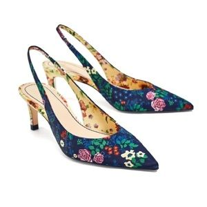 Zara Floral Slingback Pumps 💕 Used once.SOLD OUT!